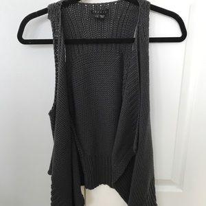 Theory Grey Knit Sleeveless Cardigan